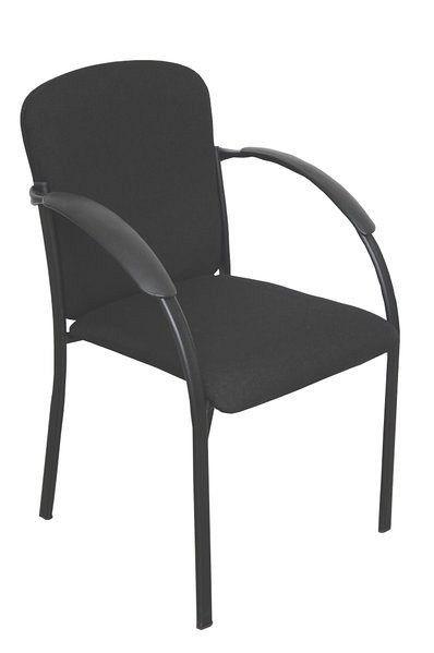 Stapelbarer Konferenzstuhl mit schwarzem Stoffbezug 80361