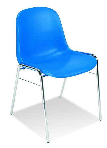 Stapelbarer Stuhl mit blauer Sitzschale aus Kunststoff 84000