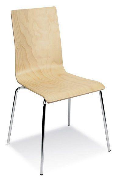 Stapelbarer Besucherstuhl mit verchromtem Gestell und einer Sitzfläche aus Holz 84300
