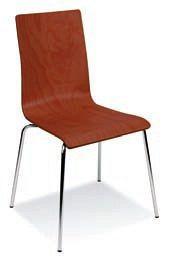Stapelbarer Holzstuhl in der Farbe Rotbraun mit verchromtem Gestell 84302