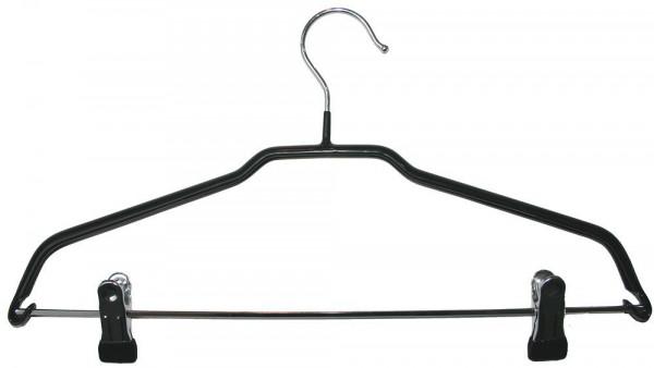 Gummierter Metallkleiderbügel mit Klammersteg aus Edelstahl 12107