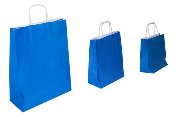 Papiertaschen blau, 90 g/qm, Kordelgriff, versch. Größen