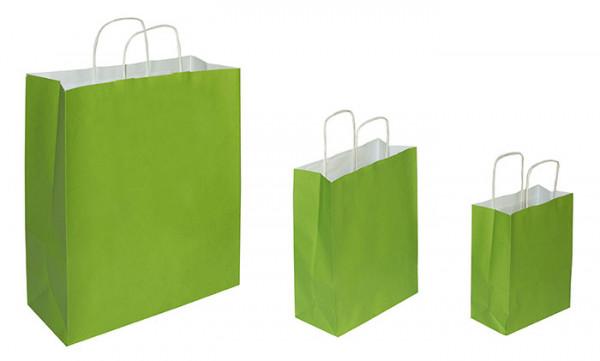 Papiertaschen grün, 90 g/qm, Kordelgriff, versch. Größen