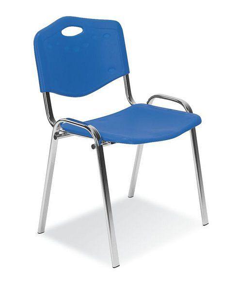 Blauer Besucherstuhl mit verchromtem Gestell 84006