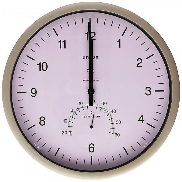 Funkgesteuerte Wanduhr in der Farbe Metallgrau mit integriertem Thermometer 639572