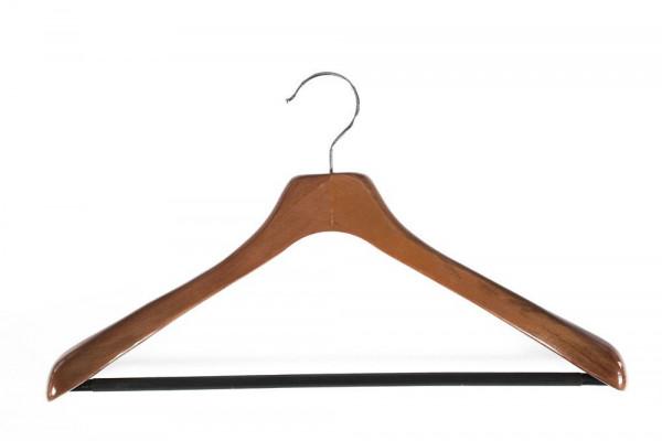 Holzkleiderbügel mit Steg für Anzüge und Jackets, dunkelbraun 12030