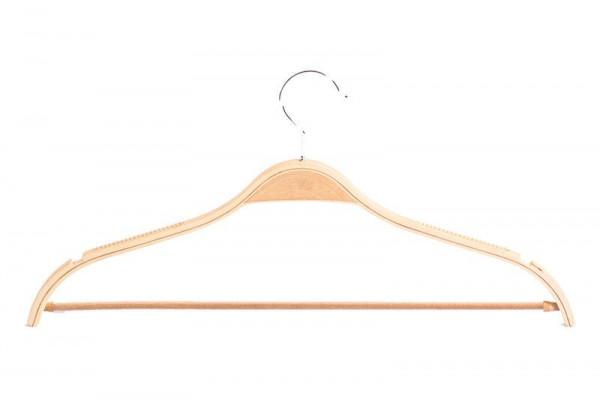 Dieser hochwertige Schichtholzbügel verfügt über einen Steg, Kerben und eine gummierte Oberfläche 12026