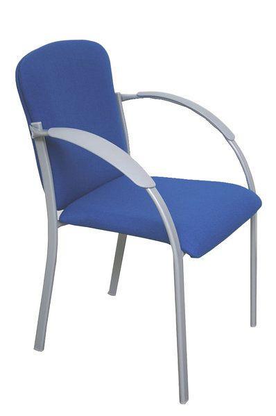 Stapelbarer Konferenzstuhl mit blauem Stoffbezug 80362