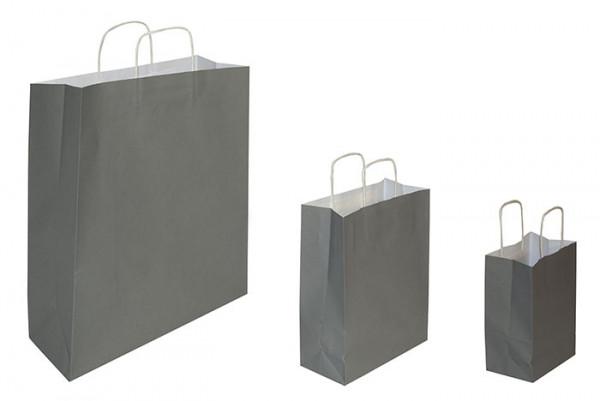 Papiertaschen grau, 90 g/qm, Kordelgriff, versch. Größen