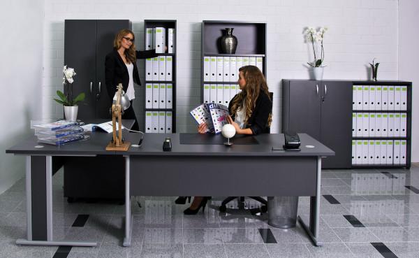 Büro komplett - Aktenregale - Aktenschränke mit 3 & 6 Ordnerhöhen und Schreibtische