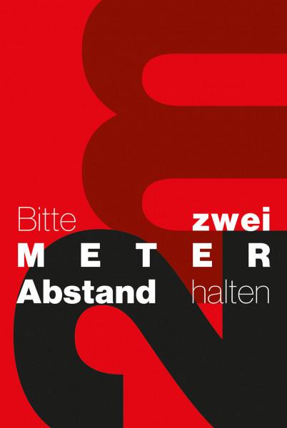 Schmutzfangmatte 2m Abstand halten 180 x 120 x 0,6 cm rot/schwarz/weiß Design 6