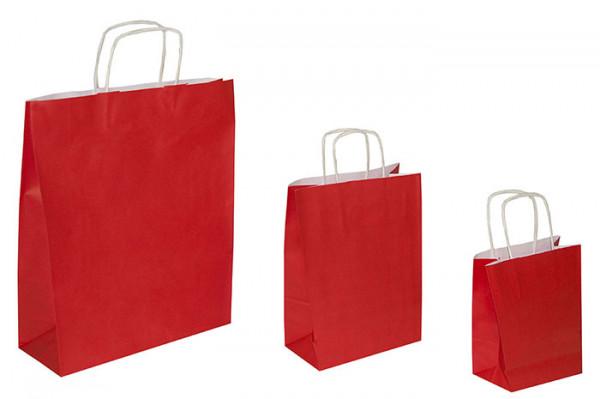 Papiertaschen rot, 90 g/qm, Kordelgriff, versch. Größen