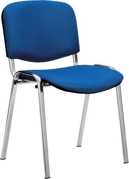 Stapelbarer Besucherstuhl mit blauem Stoffbezug 80303