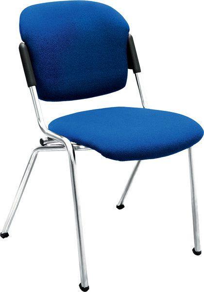 Stapelbarer Besucherstuhl mit blauem Stoffbezug 80047