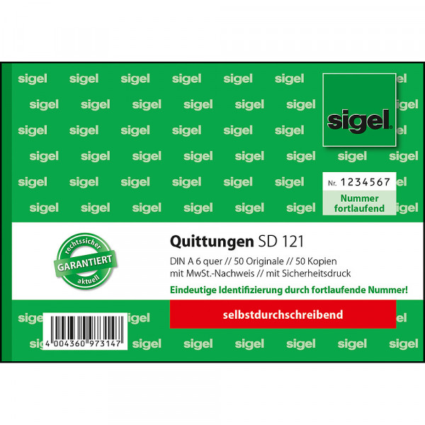 Hochwertiger Quittungsblock von Sigel im DIN A6 Format 627192