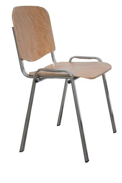 Stapelbarer Besucherstuhl mit einer Sitzfläche aus Holz 80320