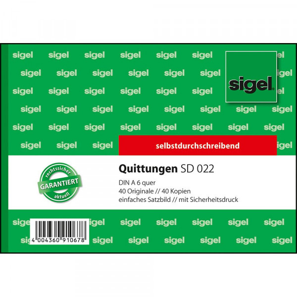 Hochwertiger Quittungsblock von Sigel im DIN A6 Format 617294