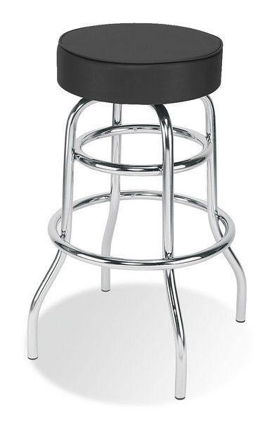 Eleganter Barhocker mit schwarzem Kunstlederbezug 84050