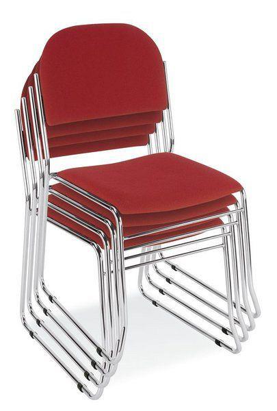 Stapelbarer Besucherstuhl mit verchromtem Gestell und rotem Stoffbezug 84008