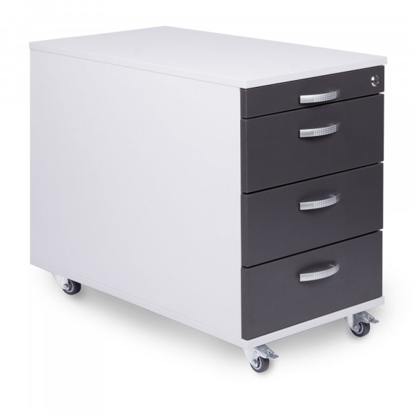 Rollcontainer 60 cm tief mit 3 Schubladen und Materialauszug