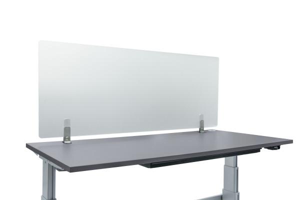 Halbtransparente Schutzscheibe aus Acryl für die hygienische Abtrennung am Arbeitsplatz