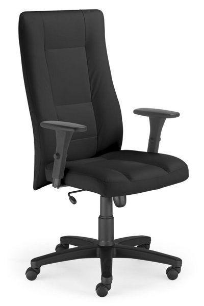 Bürostuhl mit schwarzem Lederbezug und ergonomisch geformter Rückenlehne 84103