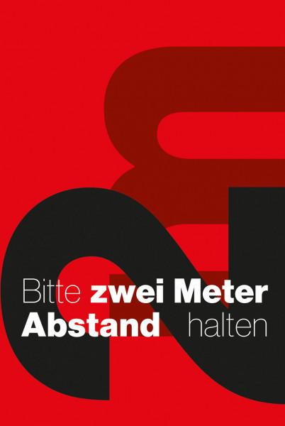 Schmutzfangmatte 2m Abstand halten 180 x 120x 0,6 cm rot/schwarz/weiß Design 7