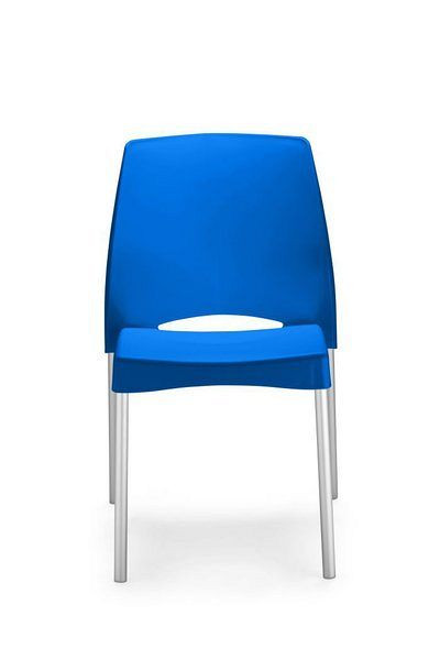 Moderner Bistrostuhl mit blauer Kunststoffsitzfläche und Aluminiumgestell 84012