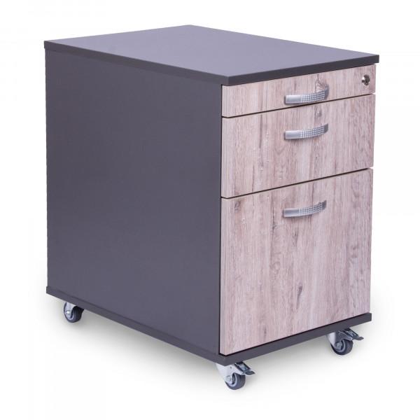 Rollcontainer 60 cm tief mit 1 Schublade, 1 Hängeregistraturauszug und Materialauszug