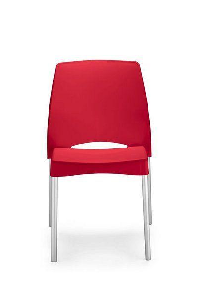 Moderner Bistrostuhl mit roter Kunststoffsitzfläche und Aluminiumgestell 84013