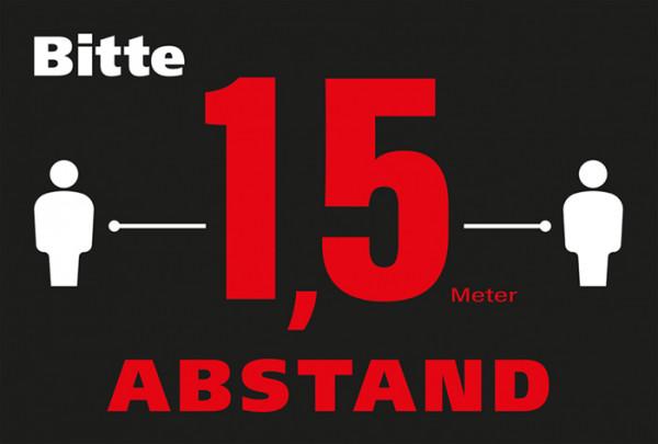 Schmutzfangmatte 1,5 m Abstand halten 60 x 90 x 0,6 cm schwarz/weiß/rot Design 0