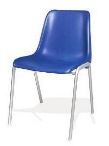 Stapelbarer Besucherstuhl mit blauer Plastiksitzschale 80340
