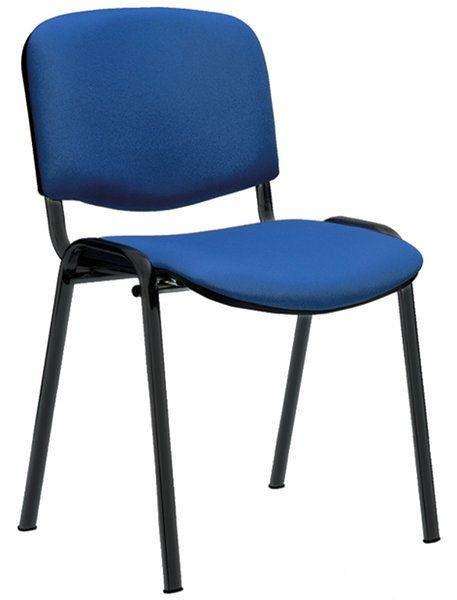 Stapelbarer Besucherstuhl mit blauem Stoffbezug und schwarzem Gestell 80302