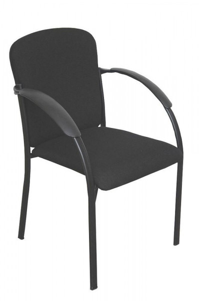 Stapelbarer Konferenzstuhl mit schwarzem Stoffbezug