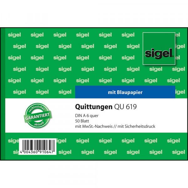 Hochwertiger Quittungsblock mit Mehrwehrtsteuernachweis von Sigel 627190