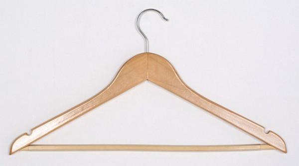 Hochwertiger Holzkleiderbügel mit Steg und Kerben zur optimalen Aufhängung von Kleidungsstücken 12005