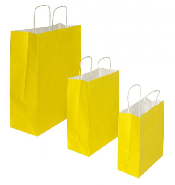 Papiertragetaschen mit Kordelgriff in der Farbe Gleb in 3 verschiedenen Größen erhältlich