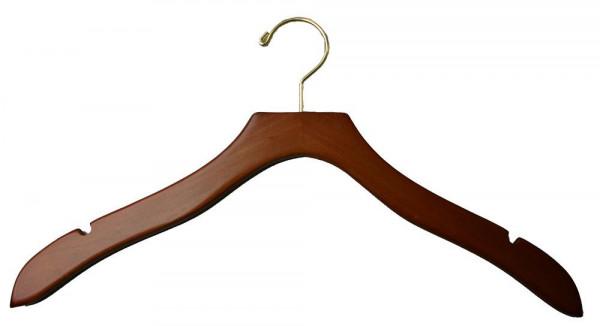 Hochwertiger dunkler Kleiderbügel aus Holz mit Trägerfräsungen für einen besseren Halt von Kleidungsstücken 12012