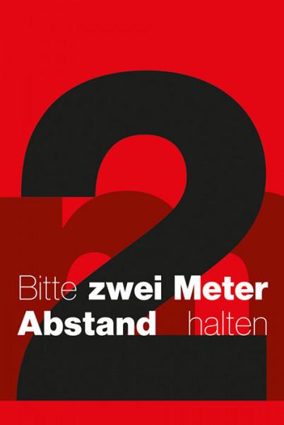 Schmutzfangmatte 2m Abstand halten 120 x 180 x 0,6 cm rot/schwarz/weiß Design 5