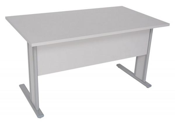 1A Schreibtisch mit Sichtschutz, Gestell lichtgrau