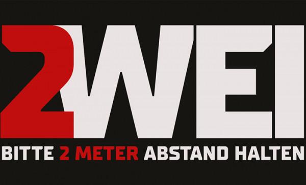 Schmutzfangmatte 2m Abstand halten 90 x 150 x 0,6 cm schwarz/weiß/rot Design 3