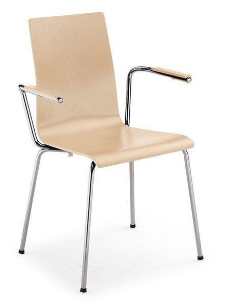 Stapelbarer Holzstuhl mit verchromtem Gestell und Armlehnen 84301