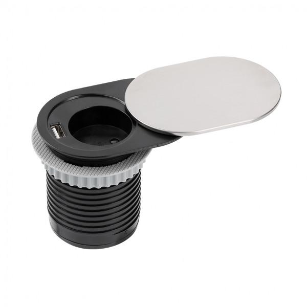 Schreibtisch-Steckdose zum Einbau mit 1 USB Port 1 Schuko-Steckdose