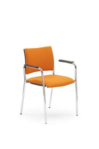 Stapelbarer Besucherstuhl mit orangenem Stoffbezug 84410
