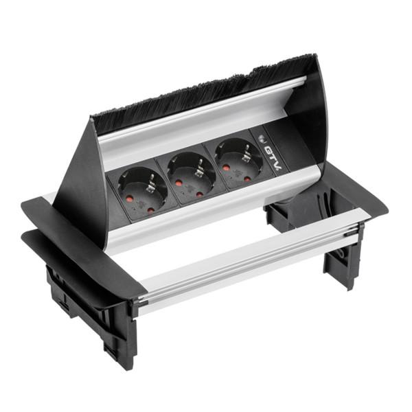 Metall Tischeinschlussfeld mit Kabeldurchführung zum Einbau mit 3 Schuko-Steckdosen