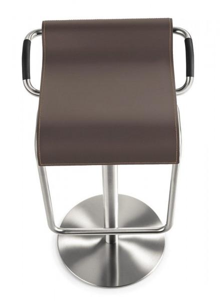Höhenverstellbarer Barhocker mit echtem Leder in der Farbe Mocca 80803