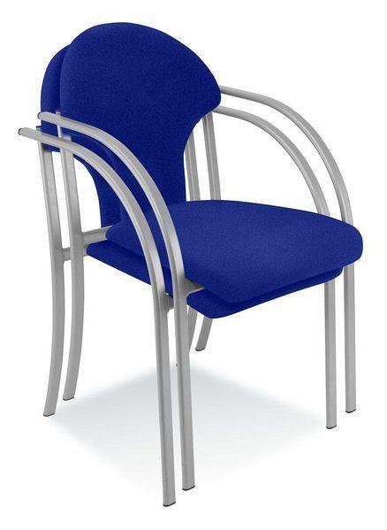 Stapelbarer Besucherstuhl mit verchromtem Gestell und blauem Stoffbezug 84010