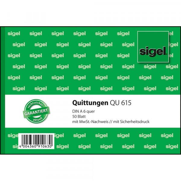 Hochwertiger Quittungblock im DIN A6 Format von Sigel 627200